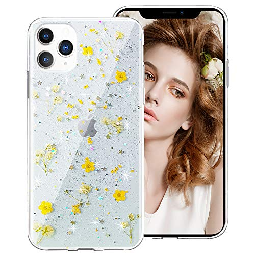 for iPhone 12 Case, for iPhone 12 Pro Case for Girls Women, Clear Glitter Floral Flower Cute Design Protective Phone Case Cover with Dry Pressed Real Wildflowers for iPhone 12/12 Pro 6.1,Yellow