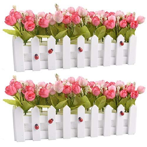 Piante di fiori artificiali - Rose e boccioli di rosa in picchetto Recinto vaso per la decorazione domestica della casa dell'ufficio dell'interno