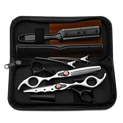 Tijeras profesionales de corte y adelgazamiento de cabello, peluquería,tijeras de acero inoxidable de 6.0 pulgadas, para peluquería, hogar, hombres, mujeres, niños,Black and white suit