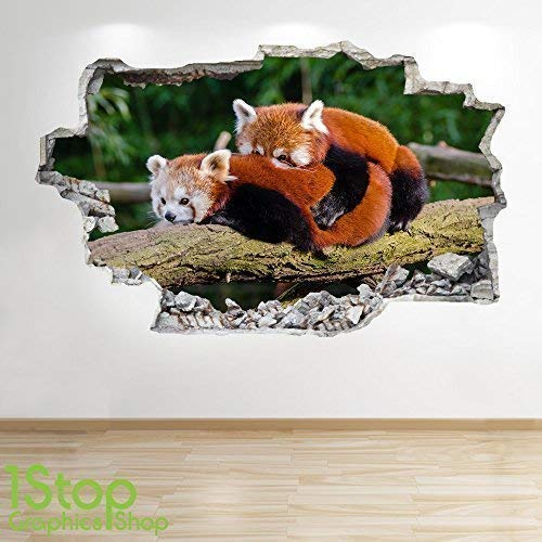 1Stop Graphics Shop RED PANDA WALL STICKER 3D LOOK - BEDROOM LOUNGE NATURE ANIMAL WALL DECAL Z717 Size: Large