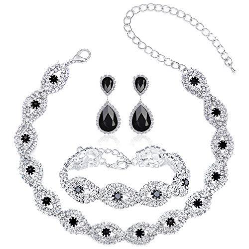 3 Pack Black Crystal Rhinestone Choker Necklace Link Bracelet Teardrop Dangle Earrings Jewelry Sets for Women Girls,Womens Bridal Wedding Bridesmaid Party Birthday Prom Jewelry Gift.