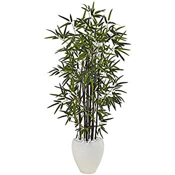 Nearly Natural 5810 Black Bamboo Artificial Tree Green
