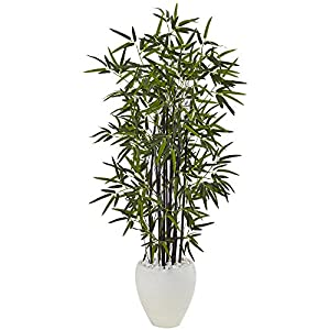 Nearly Natural 5810 Black Bamboo Artificial Tree, Green