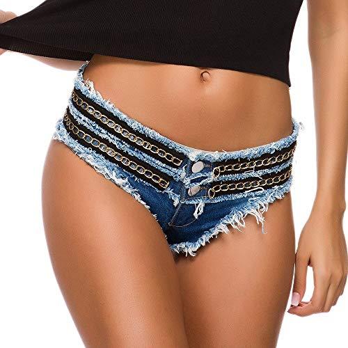 Yingm Damen-Jeansshorts Flaches Mini-Denim-Shorts mit Metallverzierung Verein gewaschener Hot Pants Ragged Jeans Lässige Kurze Sommerkleidung (Farbe : Blue, Size : M)