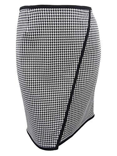 Calvin Klein Womens Plus Houndstooth Constrast Trim Pencil Skirt B/W 16W Black/Cream