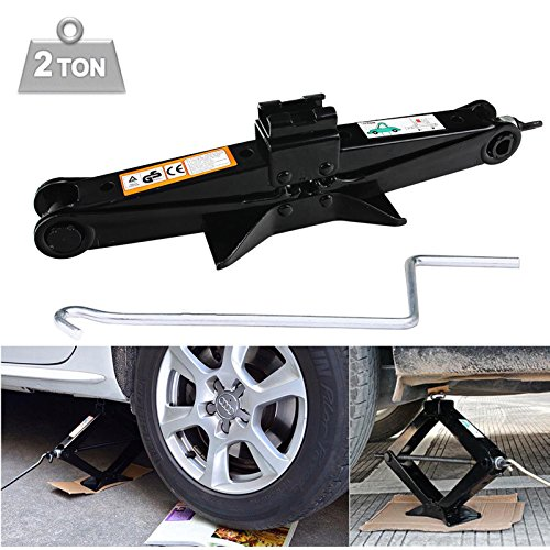 DICN 2 Tonne Scissor Jack Black with Crank Speed Handle Compact Portable Garage Tools - 105-385mm Lift Range for Ford BMW Toyota Nissan Chevrolet