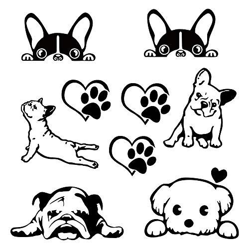 Lustig Hunde Autoaufkleber Hundepfote mit Herz Hundepfoten Aufkleber aus Vinyl Schön Puppy für Autos Fenster Laptops Aufkleber Schwarz Love Hund Katze Aufkleber Pfote Herz (eine Gruppe von Hunden)