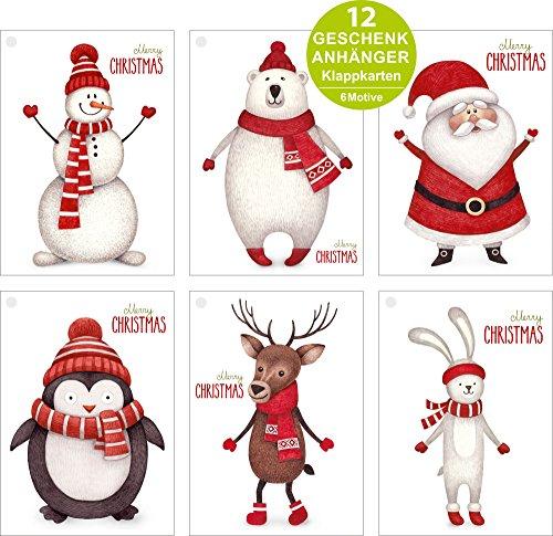 ArtUp.de 12 Geschenkanhänger zu Weihnachten im Set mit Goldfäden - 6 lustige witzige Motive mit je 2 Klappkarten DIN A7 für tolle Weihnachtsgeschenke - gelocht - innen unbedruckt weiß