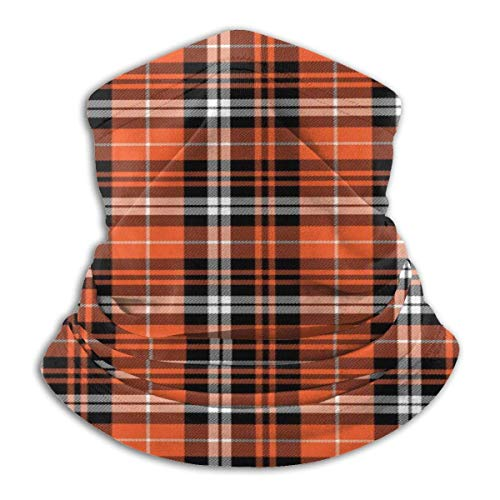 Randy-Shop pompoen herfst plaid oranje fleece nek warme hals gasten unisex