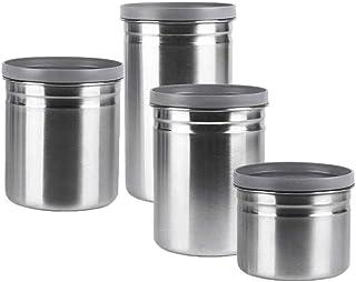 Ensemble De Bidons De Cuisine pour Pot De Rangement, Contenants De Rangement pour Aliments en Acier Inoxydable De 4 Pièces...