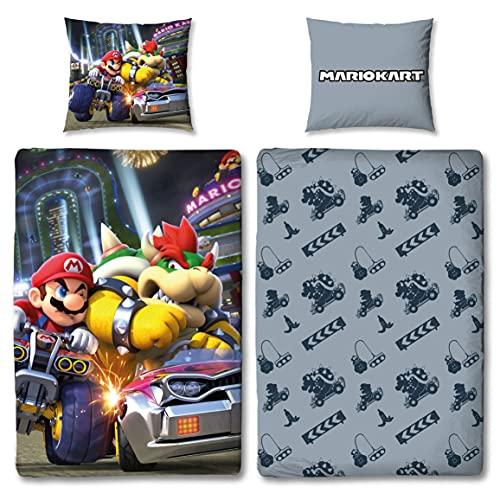 Juego de cama reversible para niños Super Mario Kart · 135 x 200 cm 80 x 80 cm · 100% algodón · Bump · Linón