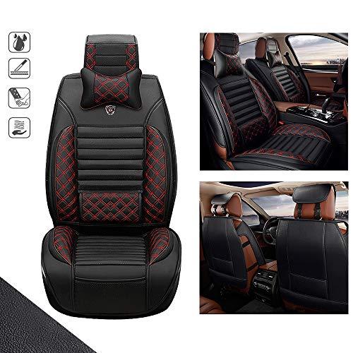 huitelai Fundas de asiento de coche para D odge Neon 5 asientos de piel sintética impermeable de fácil instalación, fundas de asiento – fila delantera y 2 almohadas edición de lujo, color negro y rojo
