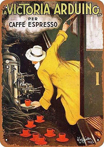 HONGXIN La Victoria Arduino Espresso Blechschild Retro Zinn Zeichen Metall Zeichen Vintage Plaque Metal Zinn Zeichen Metall Poster Wanddekoration für Zuhause Küche Garage Bar Pub Geschenk 20 X 30 cm