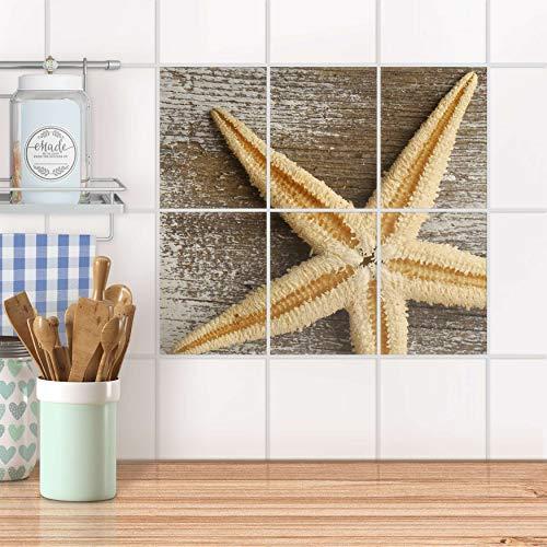 creatisto Fliesenaufkleber für Bad und Küche I Fliesen-Aufkleber Folie wiederablösbar I Fliesen verschönern - Fliesenmotiv für Bad- und Küchenfliesen I Design: Starfish