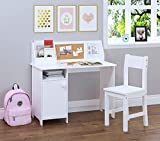 UTEX Kids Study Desk with Chair, Wooden Children School Study Table with Hutch and Chair for 3-8 Years Old, Student's Study Computer Workstation & Writing Table for Home School Use