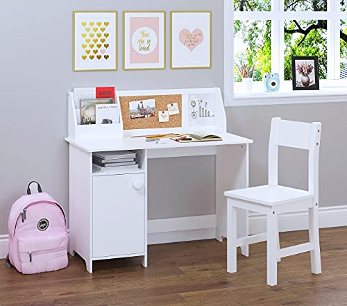 UTEX Kids Study Desk with Chair, Wooden Children School Study Table with Hutch and Chair for 3-8 Years Old, Student's Study Computer Workstation &...