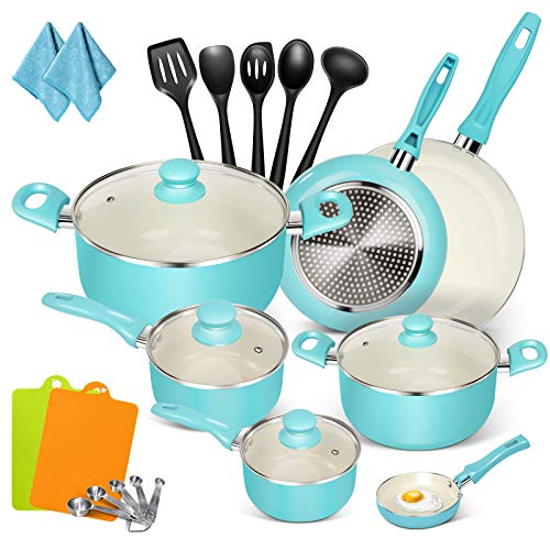 MASTERTOP 16-Piece Nonstick Cookware Set- Aluminum Cookware Sets Pots and Pans Set,Oven & Dishwasher Safe, PFOA Free 5 Stainless Spoons + 5 Microfiber Rags-Best gifts for family, friends and yourself