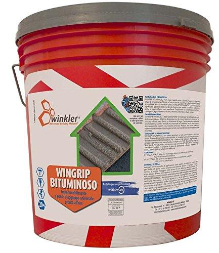 WINGRIP BITUMINOSO Impermeabilizzante e ponte d'aggrappo universale per la posa di pavimenti - secchio da 5 kg.