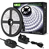 Image of LE Daylight White LED Strip Light 5M, 300 LEDs, Dimmable 1200lm Bright Light Strip, 6000K Cool White Stick-on LED Tape for Home Kitchen Bedroom and More (12V Power Plug and Dimmer Switch Included)