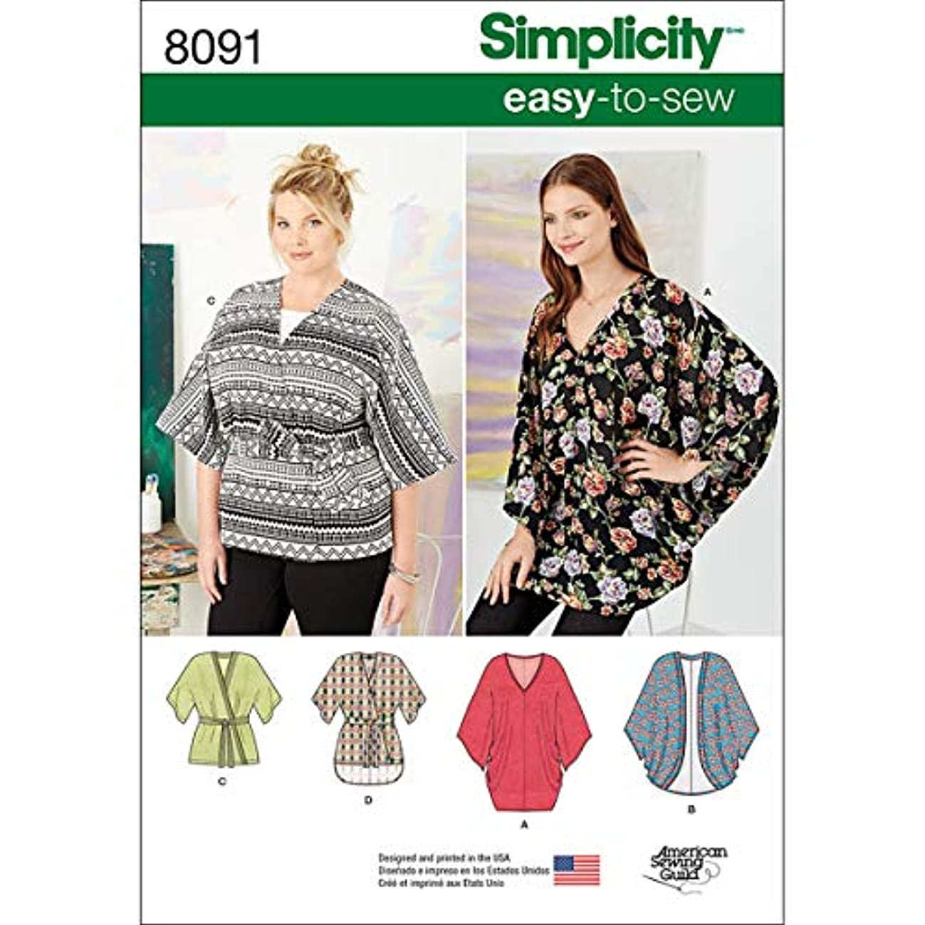 Simplicity Creative Patterns Simplicity Patterns Misses Kimonos in Various Styles Size: A (XXS-XS-S-M-L-XL-XXL), 8091