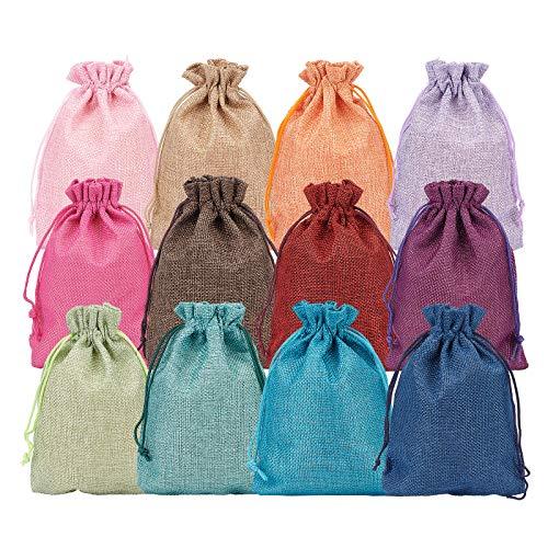 BENECREAT 24 PCS Bolsas de Arpillera de 12 Colores con Cordón Bolsas...
