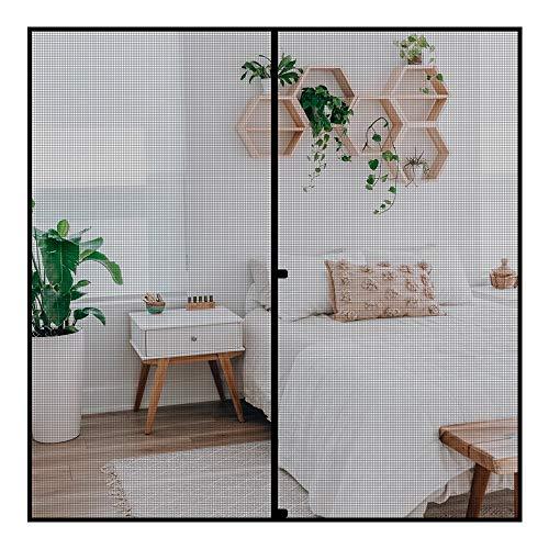 Fowong - Mosquitera magnética para puerta, 200 x 200 cm, con cinta de velcro, autoadhesiva, ideal para puerta de balcón, sótano, terraza, montaje adhesivo, sin agujeros, color negro