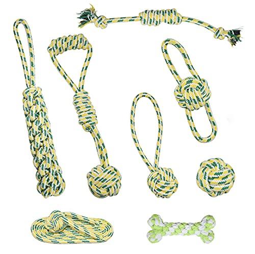 LAMTWEK 8 juguetes de cuerda para perros, juguete interactivo para perros agresivos, juguetes para masticar cepillo de dientes para perritos, el mejor regalo para perros pequeños a grandes.