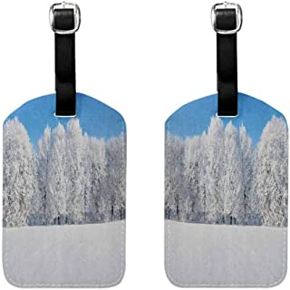 Women's Luggage Tag Winter,Frosted Trees in the Forest with Snowy Fields Cool Looking Seasonal Photography, Blue White with Genuine