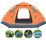Wnnideo Instant Family Tent Automatic Pop Up Tents for Outdoor Sports Camping Hiking Travel Beach (Camel with Tarp)