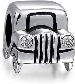 Suv Jeep Car Automobile Driver CZ Head Lights Travel Charm Bead For Women Moms Sterling Silver Fits European Bracelet