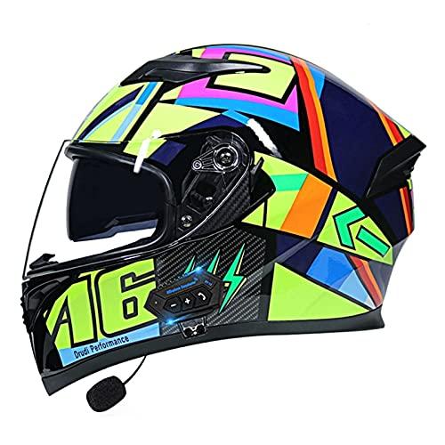 Casco de motocicleta con Bluetooth, modular con visera doble DOT/ECE aprobado para adultos y hombres y mujeres (color: D)