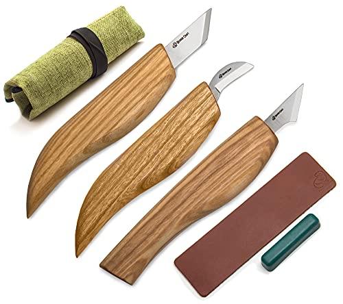 BeaverCraft Wood Carving Knife Kit for Beginners S55 Chip Carving Knives Woodworking Wood Carving Tools Set Carve Widdling Knife Kit Detail Whittling Knife Set Wood Carving Kit Hobbies for Men (3)