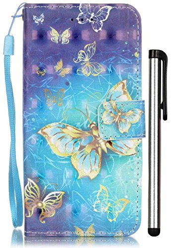 For iPhone 8 Case, iPhone 7 Case [3D Painting] Wristlet Wallet Case With [Card Slot][ID Holder][Kickstand][Wrist Strap] Fit Apple iPhone7 iPhone8 4.7 Inch Only Golden Butterfly [Not Fit Plus 5.5]