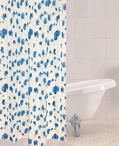 Sabichi blau Poppy Muster, Polyester Duschvorhang 180x 180cm inkl. 12Haken