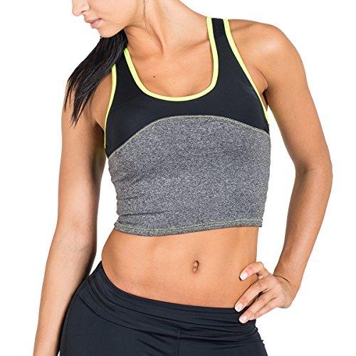 Drop of Mindfulness Damen Sport Bra Husky Halter, Grey, S