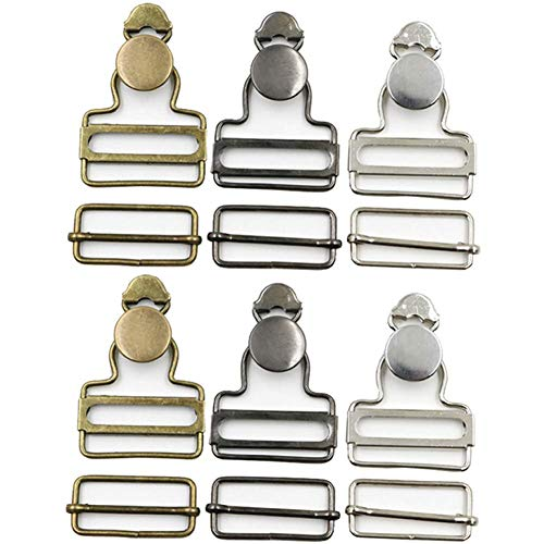 6 Sets Overall Buckles Metal Suspender Replacement Buckles with Rectangle Buckle Slider and No-Sew Buttons for Overalls Bib Pants Trousers Jeans (38 MM)
