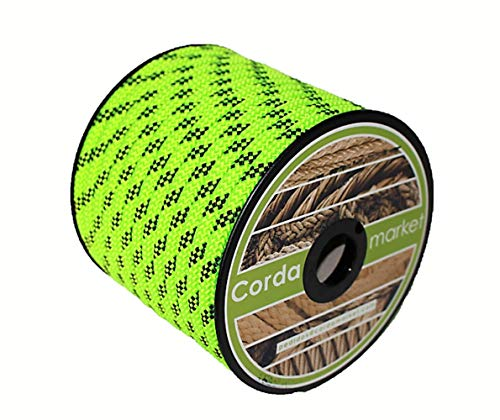 CORDAMARKET 10mm Cuerda driza, Adultos Unisex, Verde Fluor, 25mts