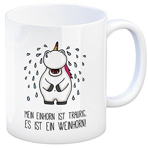 Honeycorns Kaffeebecher mit Einhorn Motiv und Spruch: Mein Einhorn ist traurig. Es ist EIN Weinhorn! Tasse Kaffeetasse Becher Mug Teetasse Büro Traurig weinen Tränen heulen Weinen traurig Trauer