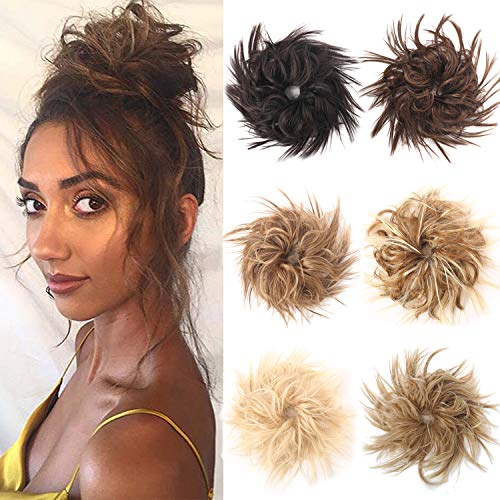 VCKOVCKO Tousled Messy Bun Hair Piece Hair Bun Extension Synthetic Chigo Ponytail With Elastic Rubber Band Updo Scrunchies Ponytail for Women(24/613# )
