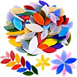 Mornajina 100 Pieces Petal Mosaic Tiles, Mixed Color Mosaic Glass Pieces, Hand-Cut Stained Glass Flower Leaves Tiles for Crafts Colorful Stained Glass Pieces Mosaic Projects