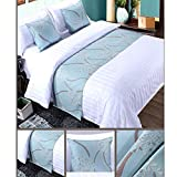 Twelve 3pcs Bed Runner Set, 1 Bed Runner Scarf 2 Pillowcases, Rippling Teal Bed Runner Bedding Scarves Guesthouse Hotel Home Decor 50x260cm