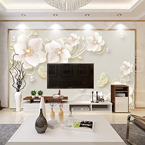 Papel Tapiz Mural 3D Estéreo Alivio Joyería Flor Moderno Simple Estilo Europeo Sala de Estar TV Fondo Foto Papel tapiz-200x140cm