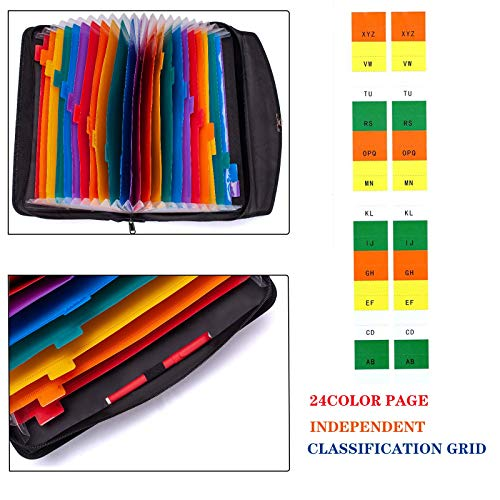 Fireproof Waterproof Document Bag 24 Pockets Expanding File Folder/Accordian File Organizer with Expandable Cover/Portable Lock Code A4 Letter Size File Box,Colored Paper Document Receipt Organizer Photo #6