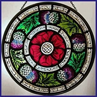 Decorative Hand Painted Stained Glass Window Sun Catcher/Roundel in a Scottish Rose and Thistle Design