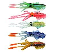 Damidel 5 PCS Big Ear Squid Soft Bait, Wide-Thin fin Octopus Fake Bait, 6 in/ 20g, 3D Holographic Eyes?Luminous Bait?Beautifully Painted
