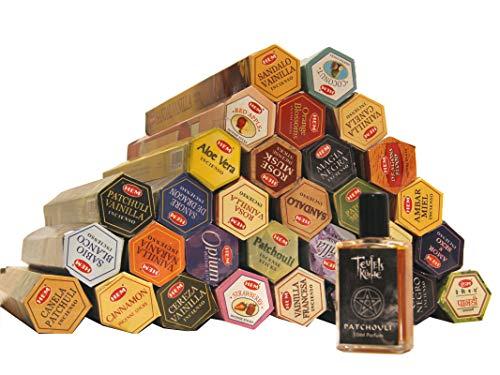 HEM Räucherstäbchen Set Mega Sparset. 30 verschiedene Packungen und ein Patchouli Parfum