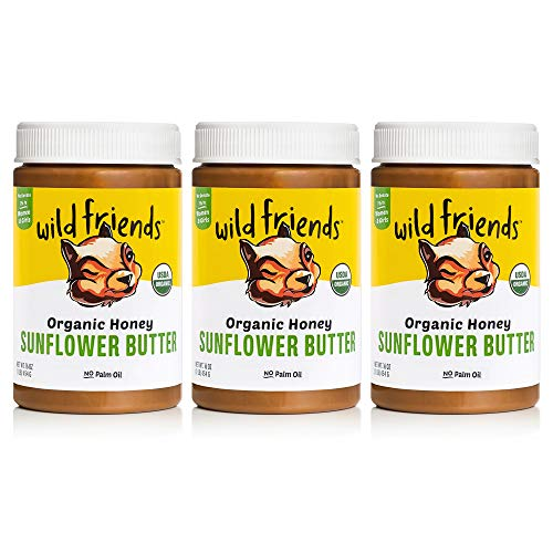 Wild Friends Foods Organic Honey Sunflower Butter, 16oz Jars, Gluten Free, Palm Oil Free, 3 Count