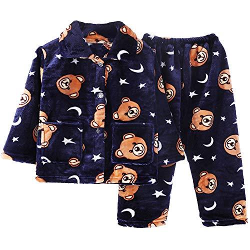 [FUPUIV]パジャマ キッズ 男の子 女の子 長袖 冬 ルームウェア もこもこ 3種類 3サイズ (ネイビー×くま, 100cm)