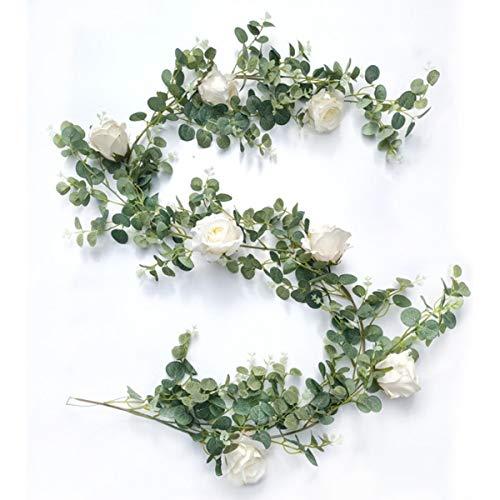 HONANA Guirnalda de eucalipto artificial de 1,95 m con rosas blancas, guirnalda de hojas de eucalipto para decoración de pared de boda (blanco)