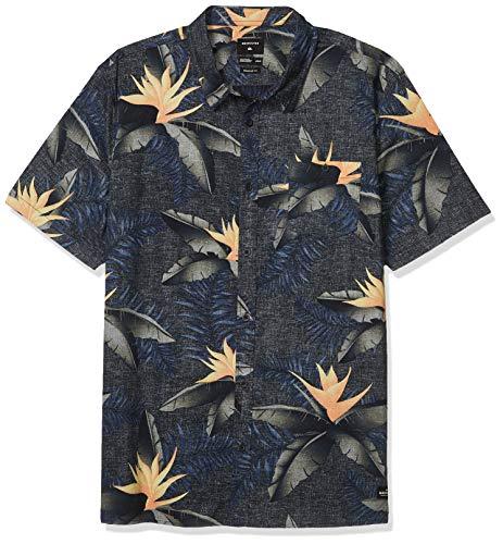 Quiksilver Herren POOLSIDER Short Sleeve Woven Button Down Hemd, Black Poolslider SOS, Klein